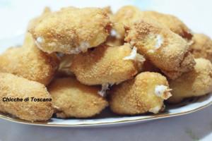 Mini spiedini fritti con mortadella e mozzarella